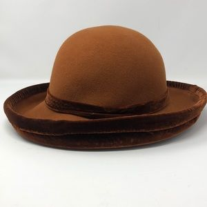 Vintage Wool and Velvet Burnt Orange Hat